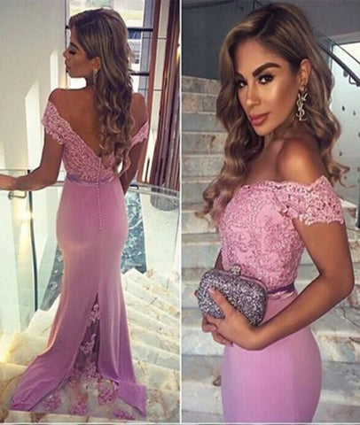 Off Shoulder Sweetheart Neck Mermaid Pink Lace Prom Dresses, Pink Lace Formal Dresses, Off Shoulder Bridesmaid Dresses