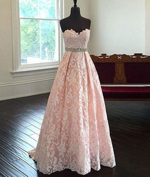 Pretty Sweetheart Neck Pink Lace Prom Dresses, Pink Evening Dresses