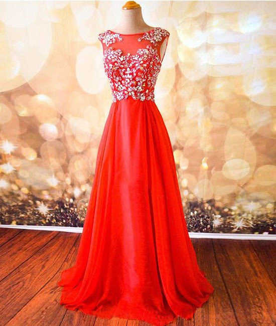 Round Neck Beaded Red Prom Dresses, Red Formal Dresses, Red Evening Dresses