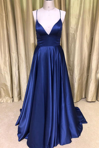 Royal Blue V Neck Backless Satin Long Prom Dresses, Royal Blue Formal Dresses, Backless Royal Blue Evening Dresses