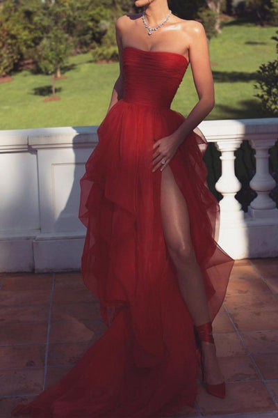 Sexy Strapless Layered Red Long Prom Dresses with High Slit, Red Formal Dresses, Evening Dresses