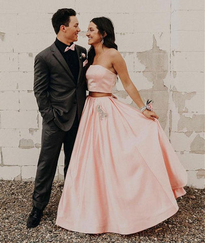 Simple 2 Pieces Pink Satin Long Prom Dresses with Pockets, 2 Pieces Pink Formal Evening Dresses, Pink Graduation Dresses