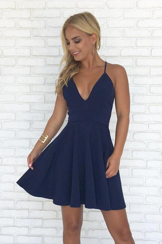 Simple V Neck Backless Navy Blue Short Prom Dresses, Navy Blue Backless Homecoming Dresses, Cute Formal Dresses, Evening Dresses
