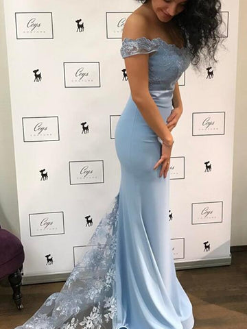 Sky Blue Mermaid Off Shoulder Lace Long Prom Dresses, Off Shoulder Mermaid Lace Blue Formal Graduation Evening Dresses