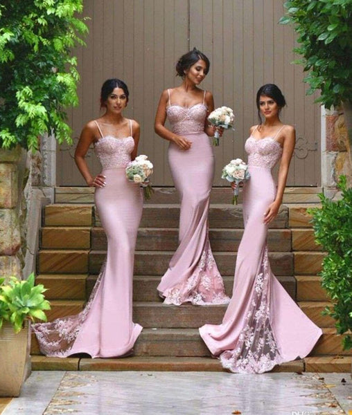 Spaghetti Straps Pink Lace Prom Dresses, Lace Formal Dresses, Pink Bridesmaid Dresses
