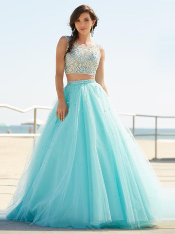 Sparkly A Line Round Neck Two Pieces Beading Mint Green Prom Dresses, Two Pieces Mint Green Formal Dresses Evening Dresses