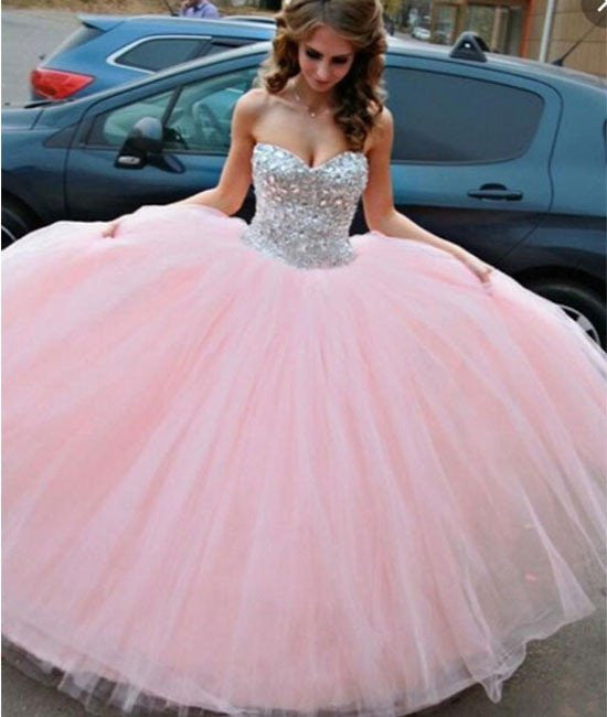Sweetheart Neck Rhinestone Long Pink Prom Gown, Evening Dresses, Rhinestone Pink Wedding Dresses
