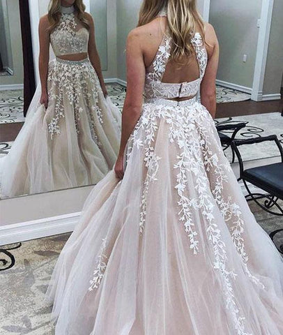 Two Pieces Lace Applique Tulle Long Prom Dress, Lace Formal Dress