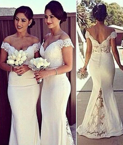 White Mermaid Off Shoulder Lace Long Prom Dresses, Lace Formal Dresses, White Bridesmaid Dresses