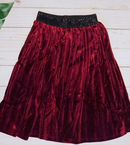Baby Pleated Skirt- WINE - WiddleToes