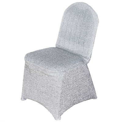 Metallic Glittering Silver Shiny Spandex Banquet Chair Cover Party Event