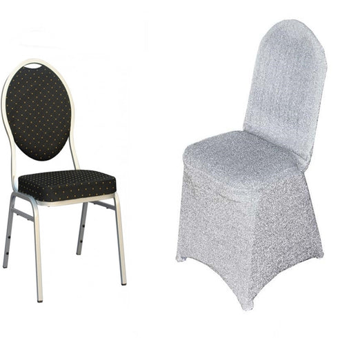 Metallic Glittering Silver Shiny Spandex Banquet Chair Cover