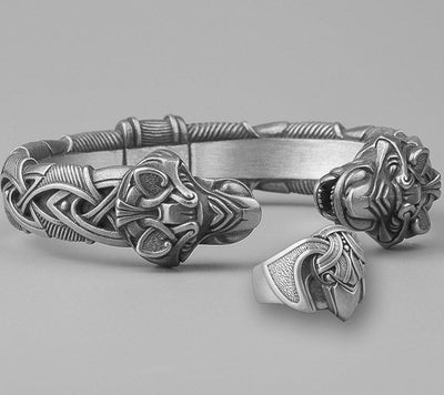 Set Viking Bracelet Fenrir & Bague Hugin vue du set