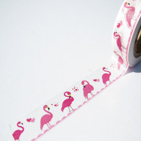 pink flamingos washi paper adhesive tape