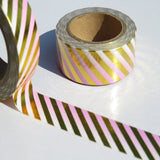pink ombre washi tape with gold foil metallic stripe