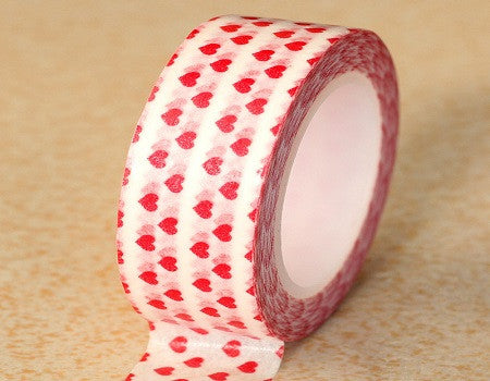 Red Hearts Washi Masking Tape - SusiebSupplies