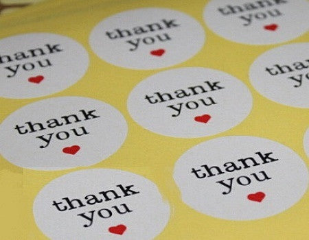 White With Red Heart Thank You Stickers - SusiebSupplies