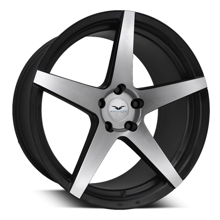 Fathom Designs Passenger Car Wheels 20x9.0 | 5x120 | et25mm | 6.0 in |74.1mm Fathom Designs Stern Wheels | Satin Black Machined Face
