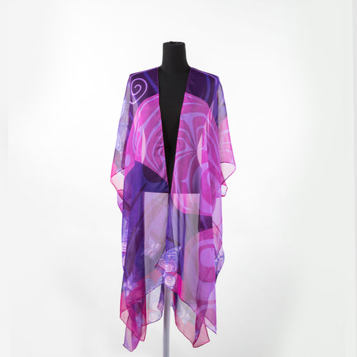 Purple, pink and violet sheer wrap featuring art by Haida artist Kwiaahwah Jones