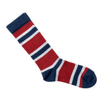 Socks with blue, gray, and maroon stripes, unfolded.