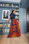 Sika'a Kinte With Front Pleat Detail African Print Maxi Skirt