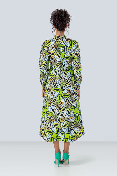 Pozou Long Sleeves African Print Shirt Dress Floral Green