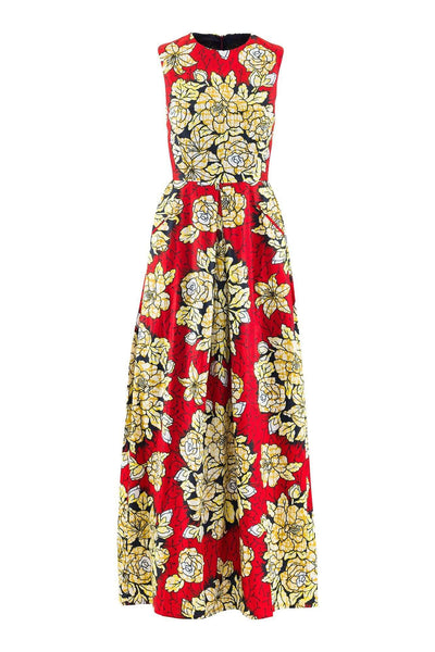 Sika'a Sleeveless Floral Detail African Print Maxi Dress