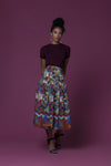 Ubangi African Wildflower Meadow Print Cotton Poplin Midi Skirt