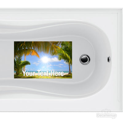 Personalized Bath Mat Decal - Beach Sun Blue Sky Palm Trees | Bathtub Decal | DecalVenue.com