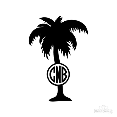 Palm Tree Monogram Initials Decal | Custom / Personalized | DecalVenue.com