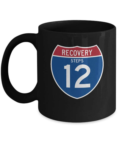 'Recovery 12 Steps Highway Sign' - AA Black 11oz Mug-12 Step Tees