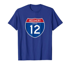 'Recovery Highway 12 Road Sign' AA 12 Step Recovery T-Shirt-12 Step Tees