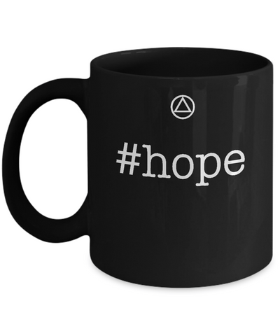 '#hope' - Hashtag Hope - 12 Step Black 11oz Mug-12 Step Tees