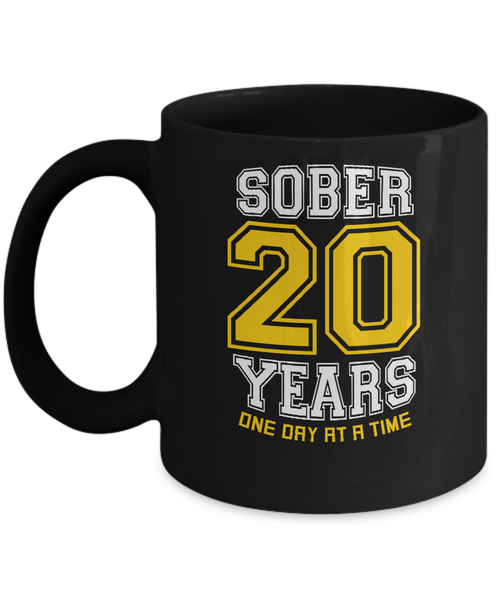 Twenty Years Sober - AA 20th Anniversary Black 11/15oz Mug-12 Step Tees