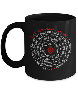 The Lord's Prayer - Coffee Mug Black 11oz Ceramic Cup - 12steptees