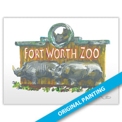 Fort Worth Zoo, Fort Worth — ORIGINAL PAINTING