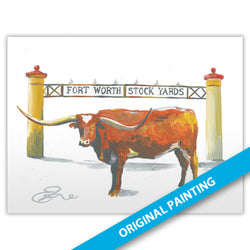 Longhorn at Stock Yards, Fort Worth — ORIGINAL PAINTING
