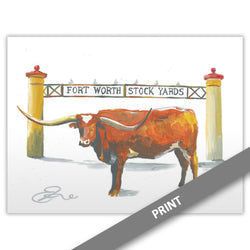 Longhorn at Stock Yards, Fort Worth — PRINT