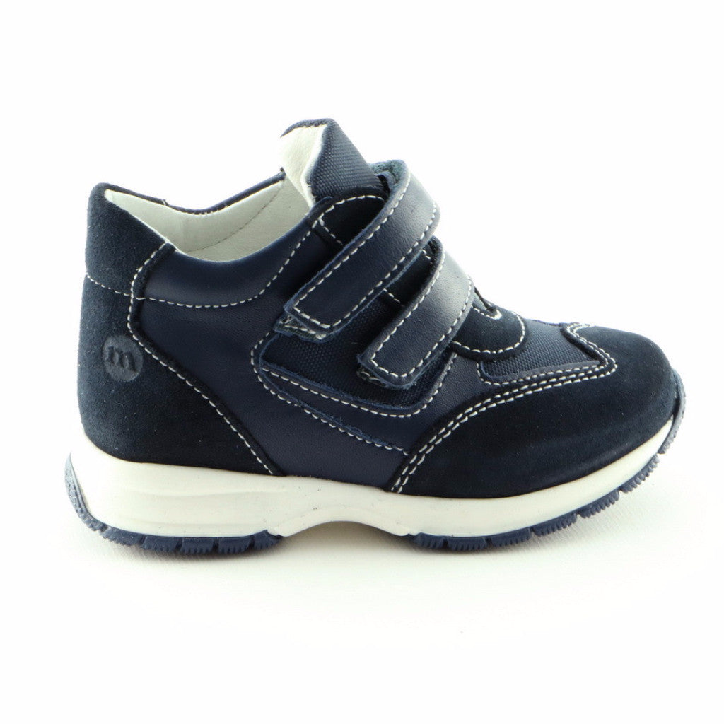 Runner's Navy Leather Trainers (SS-8001)