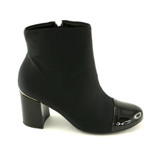 Black Pat with Stretch Ladies Ankle Boots (155.001)
