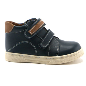 Navy combo leather with contrast stitching Boys Ankle Boots (SS-8046)