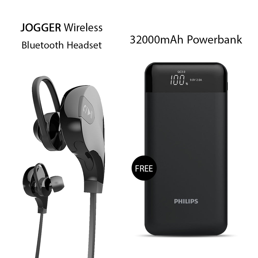 Buy Clickcases Sports Wireless Bluetooth Headset With Free 32000mAh Power Bank