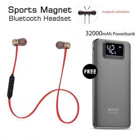 Sports Magnet Headset With Free 32000mAh Power Bank