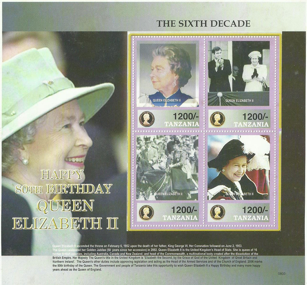 80th Birthday of HM Queen Elizabeth II - Sheetlet - Philately Tanzania stamps