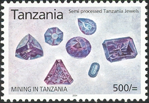Mining in Tanzania - Semi processed Tanzanian jewels - Philately Tanzania stamps