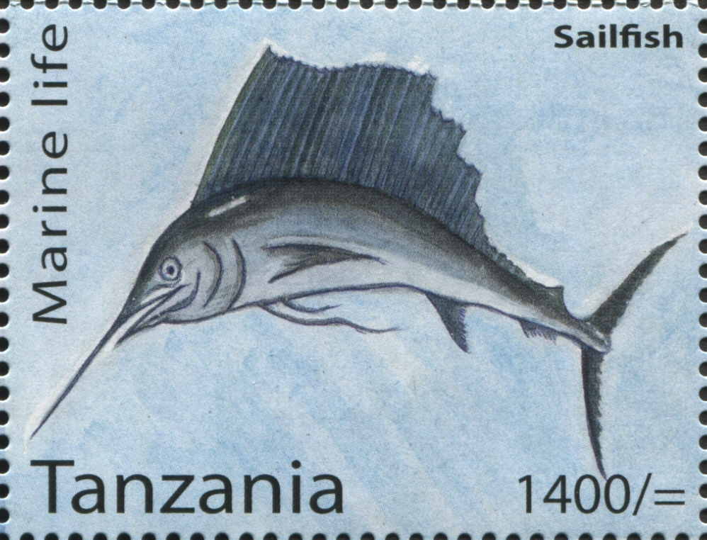 Marine Life - Sailfish - Philately Tanzania stamps