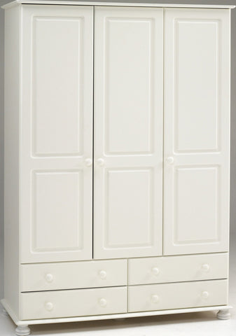 Large White Wardrobe with 3 Doors