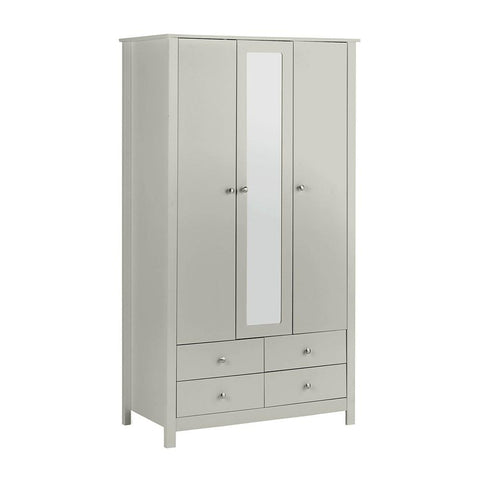 Florence 3 Door 4 Drawer wardrobe with mirror in Soft Grey