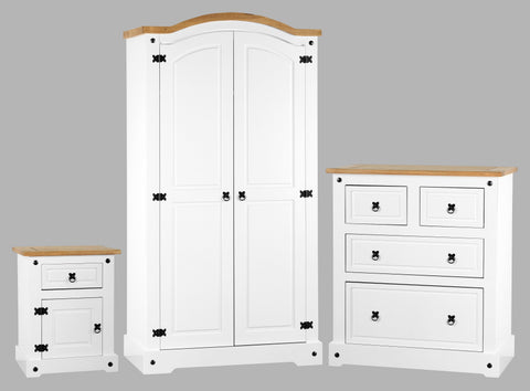 Corona 3 Piece Bedroom Set In White/Distressed Waxed Pine
