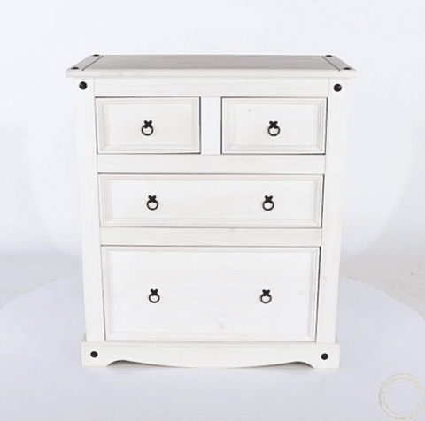 Corona White Washed 2+2 Drawer Chest